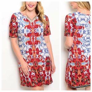 Dresses & Skirts - 🆕colorful baroque print short sleeve dress